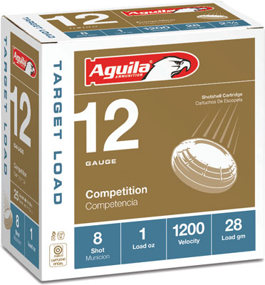 "AGUILA TARGET LOAD SHOTSHELL AMO 12GA 2 3/4""  #8 1 OZ 25 RD 1200FPS (10 BOXES PER CASE) - for sale"