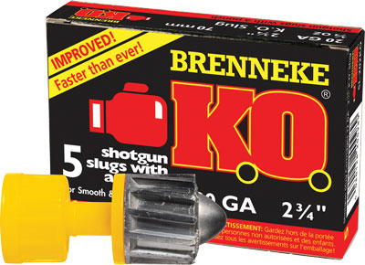 "BRENNEKE USA 20GA KO 2-3/4"" 3/4OZ. SLUG 5PK. - for sale"