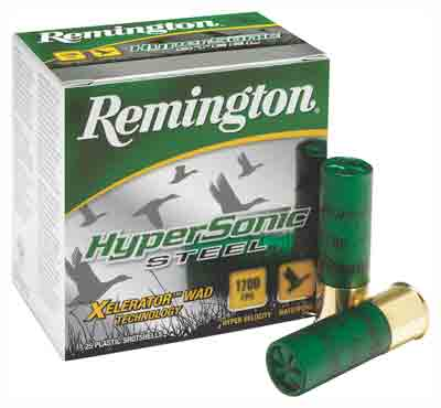 "REM AMMO HYPERSONIC STEEL 25PK 12GA 3.5"" 1700FPS. 1-3/8OZ. #4 - for sale"