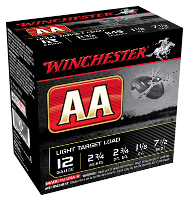 "WIN AMMO AA TARGET 12GA. 2.75"" 1145FPS. 1-1/8 #7.5 25-PACK - for sale"