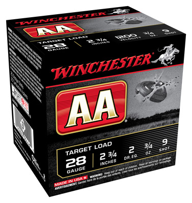 "WIN AMMO AA TARGET 28GA. 2.75"" 1200FPS. 3/4OZ. #9 25-PACK - for sale"