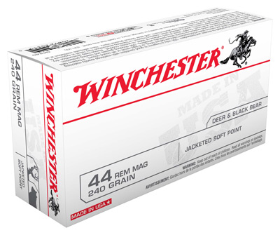 WINCHESTER USA PISTOL AMO 44 MAG 240GR JSP 50 RD (10 BOX CASE) - for sale