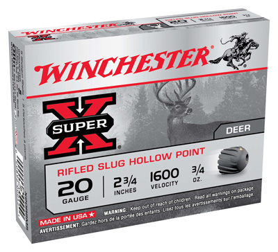 "WIN AMMO SUPER-X SLUGS 20GA. 2.75"" 1600FPS. 3/4OZ. 5-PACK - for sale"