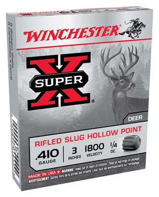 "WIN AMMO SUPER-X SLUGS .410 3"" 1800FPS. 1/4OZ. RIFLED 5-PACK - for sale"