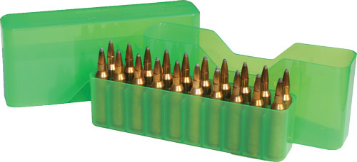 MTM AMMO BOX LARGE RIFLE 20 ROUNDS SLIP TOP CLEAR GREEN - for sale