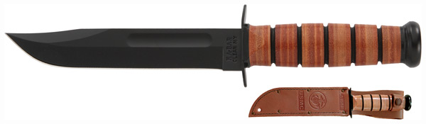 ka-bar knives - USMC - FIGHT USMC CLIP STRT 7 W/LTHR BRN for sale