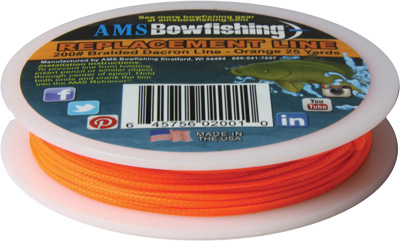 AMS BOWFISHING REPLACEMENT LINE ORANGE #200 25 YARDS - for sale