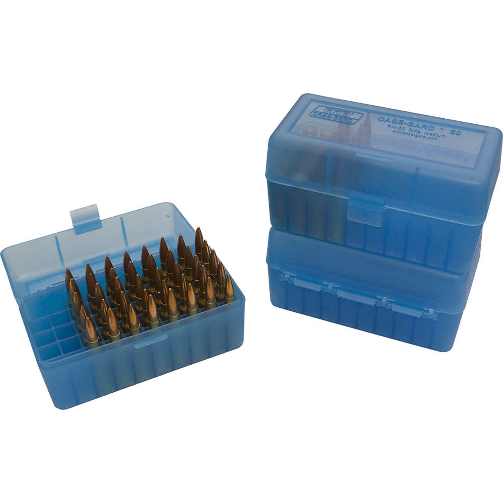 mtm case-gard - Case-Gard - 50 SER LGE RIFLE AMM BOX 50RD - CLR BLUE for sale
