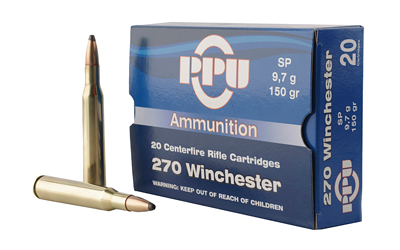 PPU STANDARD RIFLE AMO 270 WIN 150GR SP 20 RD (10 BOX CASE) - for sale